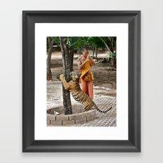 Monk and Tiger Framed Art Print