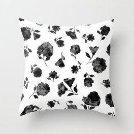 Black Shadow Bloom Throw Pillow