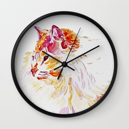 Siamese Kitty Cat watercolour by CheyAnne Sexton Wall Clock