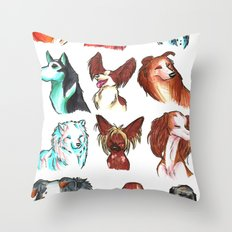 Brush Breeds Compilation Throw Pillow