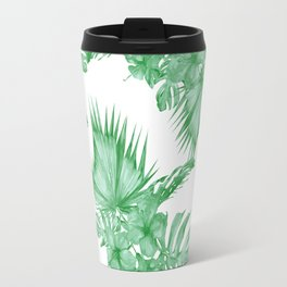 Palm Leaves and Hibiscus Tropical Green Travel Mug