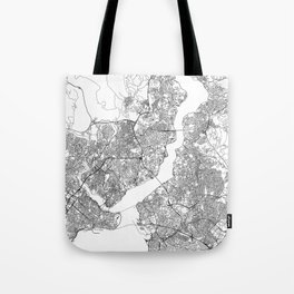 Istanbul White Map Tote Bag
