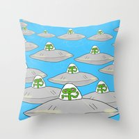 aliens Throw Pillows featuring Aliens by David Abse