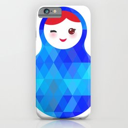 wink Russian doll matryoshka with bright rhombus on white background, blue colors iPhone Case