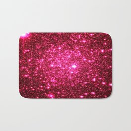Hot Pink Glitter Galaxy Stars Bath Mat