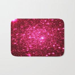 Hot Pink Glitter Galaxy Stars Bath Mat