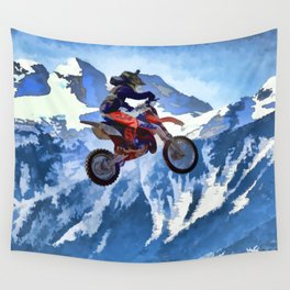 Mountain View - Dirt-bike Racer Wall Tapestry