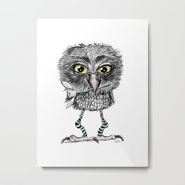 Owl with snowdrop Metal Print