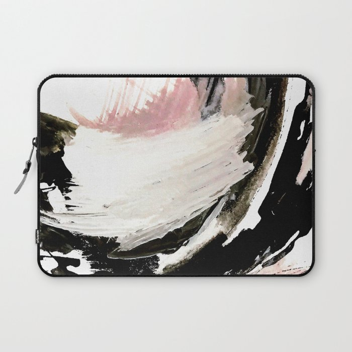 Crash: an abstract mixed media piece in black white and pink Laptop Sleeve