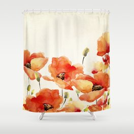 Poppy Flower Meadow- Floral Summer lllustration Shower Curtain
