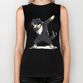 Funny Bernese Mountain Dog Dabbing Biker Tank