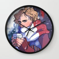 enjolras Wall Clocks featuring Winter Enjolras by rdjpwns