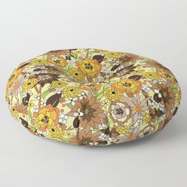 Flower Power brown Floor Pillow