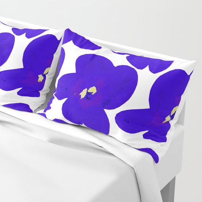 Blue Retro Flowers #decor #society6 #buyart Pillow Sham