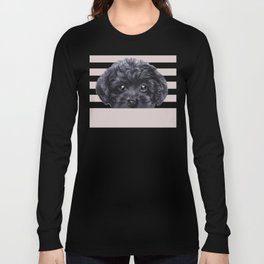 Black toy poodle Dog illustration original painting print Long Sleeve T-shirt