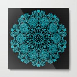 Mandala Project 230 | Teal on Black Metal Print
