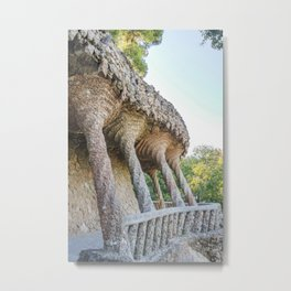 Architecture by Gaudi in Parc Güell in Barcelona, Spain Metal Print
