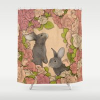 rabbits Shower Curtains featuring Rosie Rabbits by Katy Davis