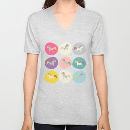 Cute Unicorn polka dots pink pastel colors and linen texture #homedecor #apparel #stationary #kids Unisex V-Neck