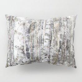 Abstract Silver Grunge Birch Pillow Sham