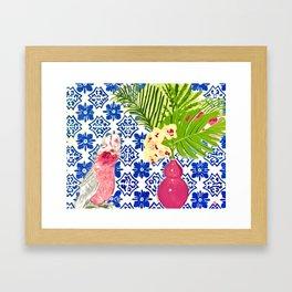 PINK PARROT AND PORTUGESE TILES Framed Art Print