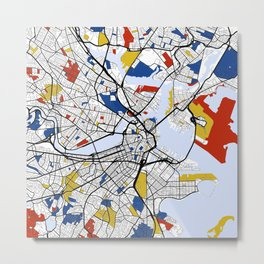 Boston mondrian map Metal Print