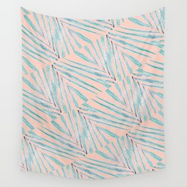 Palm Leaves Coral Wall Tapestry