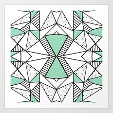 Ab Lines and Spots Mint Art Print