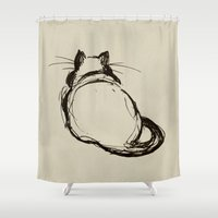 fat Shower Curtains featuring Fat Cat by Julie Viens