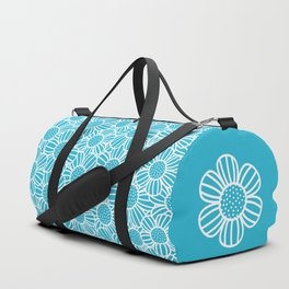 Field of daisies - teal Duffle Bag