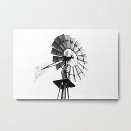 Windmill Black and White Metal Print