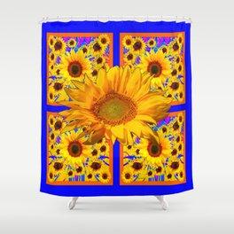 YELLOW SUNFLOWERS BLUE ART PATTERN Shower Curtain