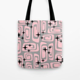 Mid Century Modern Cosmic Galaxies 438 Pink and Gray Tote Bag