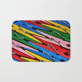 Rainbow of Clothespins Bath Mat