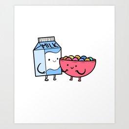 Milk And Cereal Boyfriend or Girlfriend Gift Art Print