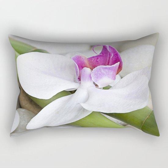white Orchid flower  and green Bamboo still life Rectangular Pillow