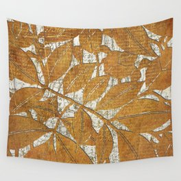 Brown Leaves on White Wall Tapestry