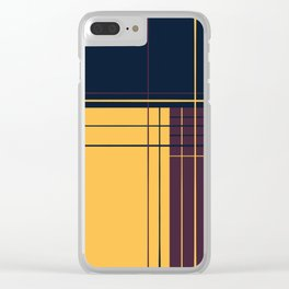 Abstract graphic I Dark blue Purple Yellow Clear iPhone Case