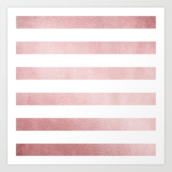 Simply Stripes in Rose Gold Sunset Art Print