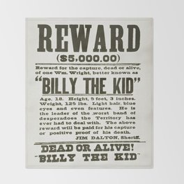 Wanted poster for Billy the Kid Throw Blanket