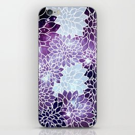 Space Dahlias Purple Ice iPhone Skin