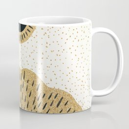Sun and Moon Relationship // Cosmic Rays of Black with Gold Speckle Stars Cool Minimal Digital Drawn Coffee Mug