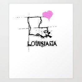 Love Louisiana State Sketch USA Art Design Art Print