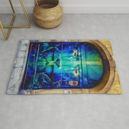 Painted Lion Mural City Doorway Photograph Rug