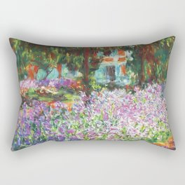 Claude Monet, The Artist's Garden at Giverny 1900 Artwork for Wall Art, Prints, Posters, Tshirts, Men, Women, Kids Rectangular Pillow