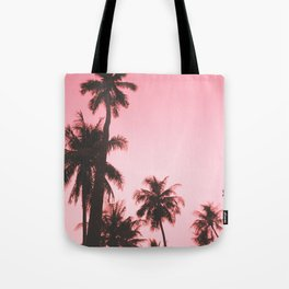 Tropical palm trees on beige pink Tote Bag