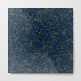 Elegant navy blue hand drawn gold glitter floral Metal Print