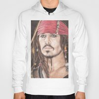 jack sparrow Hoodies featuring Captain Jack Sparrow by JadeJonesArt