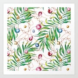 Glamorous Palm white Art Print