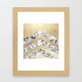 Stylish black white faux gold elegant geometrical marble Framed Art Print